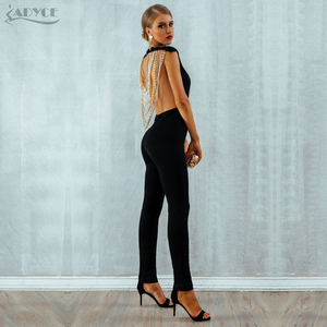 Image 5 - Adyce 2020 New Summer Women Jumpsuit  Elegant Beads Sexy Backless Sleeveless Chain Celebrity Night Club Party Jumpsuits Rompers