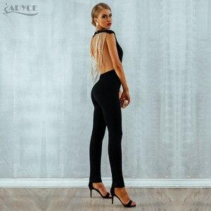 Image 5 - Adyce 2020 New Summer Women tuta elegante perline Sexy Backless senza maniche catena Celebrity Night Club tute da festa pagliaccetti