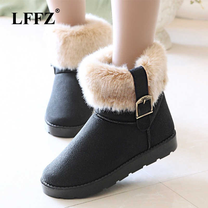 Women's Winter Warm Classic buckle Snow Boots Ladies Fur Suede Flat Black Shoes Female Fashion Footwear ST315