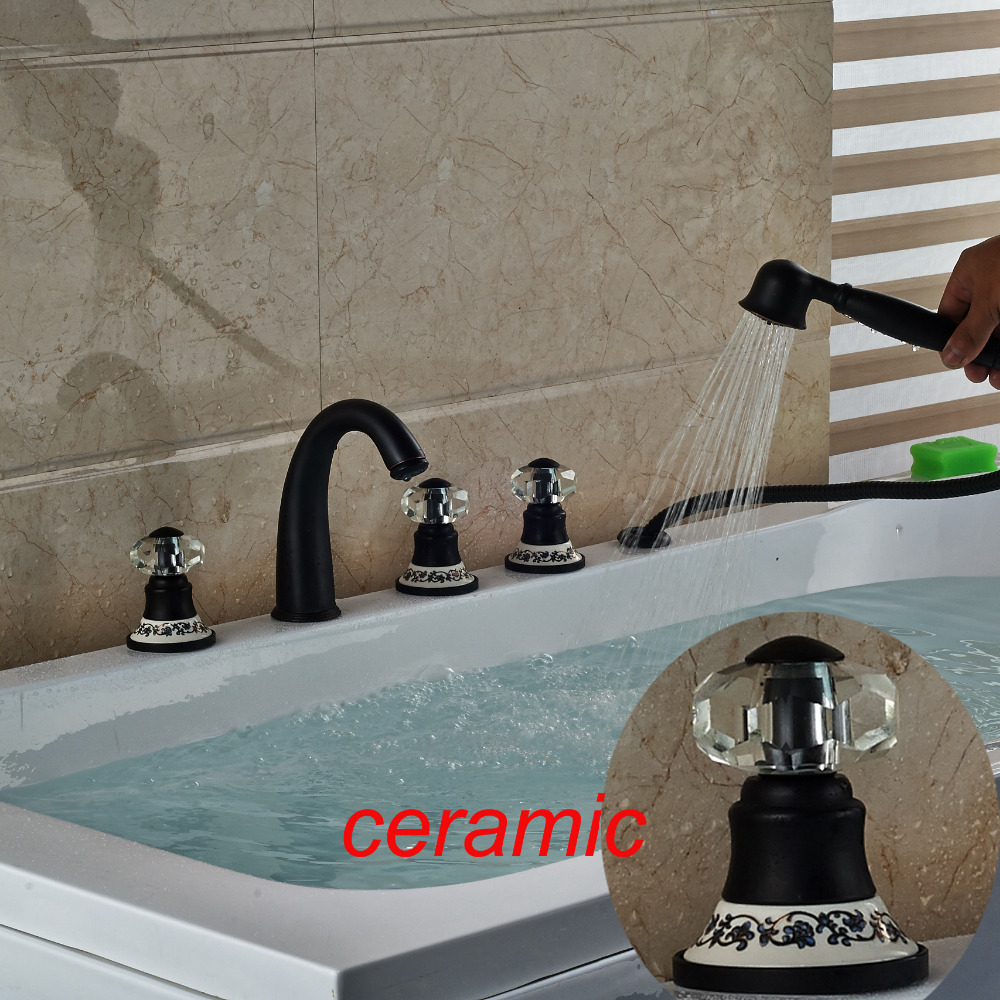 Modern Ceramic Style Crystal Handles Bathroom Tub Faucet Spout Mixer Tap Handy