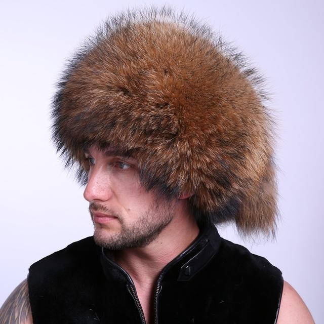 Hombres Sombrero de Piel mullida Mongalia Tipo Traje De Estación Fría Garantía 100% Racoon Perro Material Popular Diseño Único EA4050-2