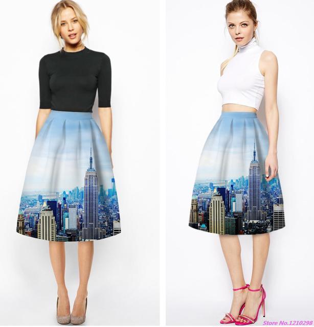 cf862e860 € 12.19  Vintage New York Mujeres Faldas Azul Faldas de Cintura Alta Moda  de La Rodilla Longitud del A Line Plisado Midi Saia Falda de Ocio deportes  ...