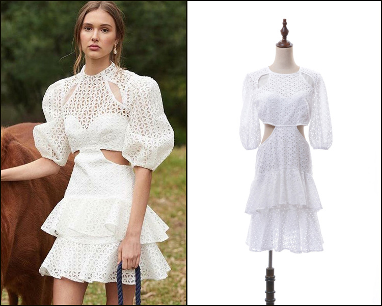Nouveau 2019 printemps australien avancé personnalisé creux broderie bulle manches spectacle taille Slim robe dentelle robe
