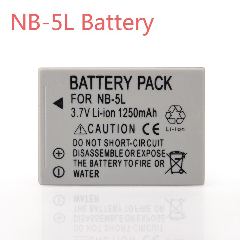 1250mAh Camera Battery Pack NB-5L NB 5L NB5L Bateria For Canon SX200is SX220HS SX230HS CB-2LXE PowerShot S100 S110 SD950 SD970