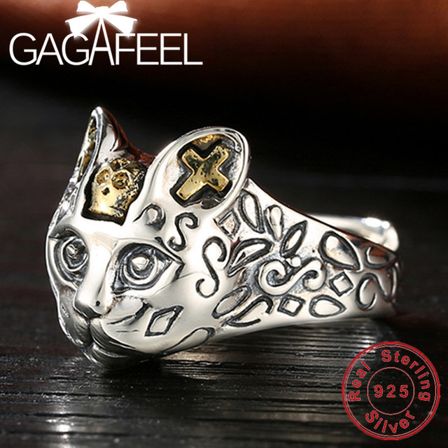 GAGAFEEL 100% Real 925 Sterling Silver Jewelry Retro Cat Finger Rings for Women Men Party Gifts Animal Ring Resizable Drop Ship