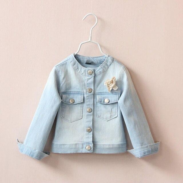 New arrival Girls baby Flower brooch round collar denim jacket autumn coat wholesale 306119