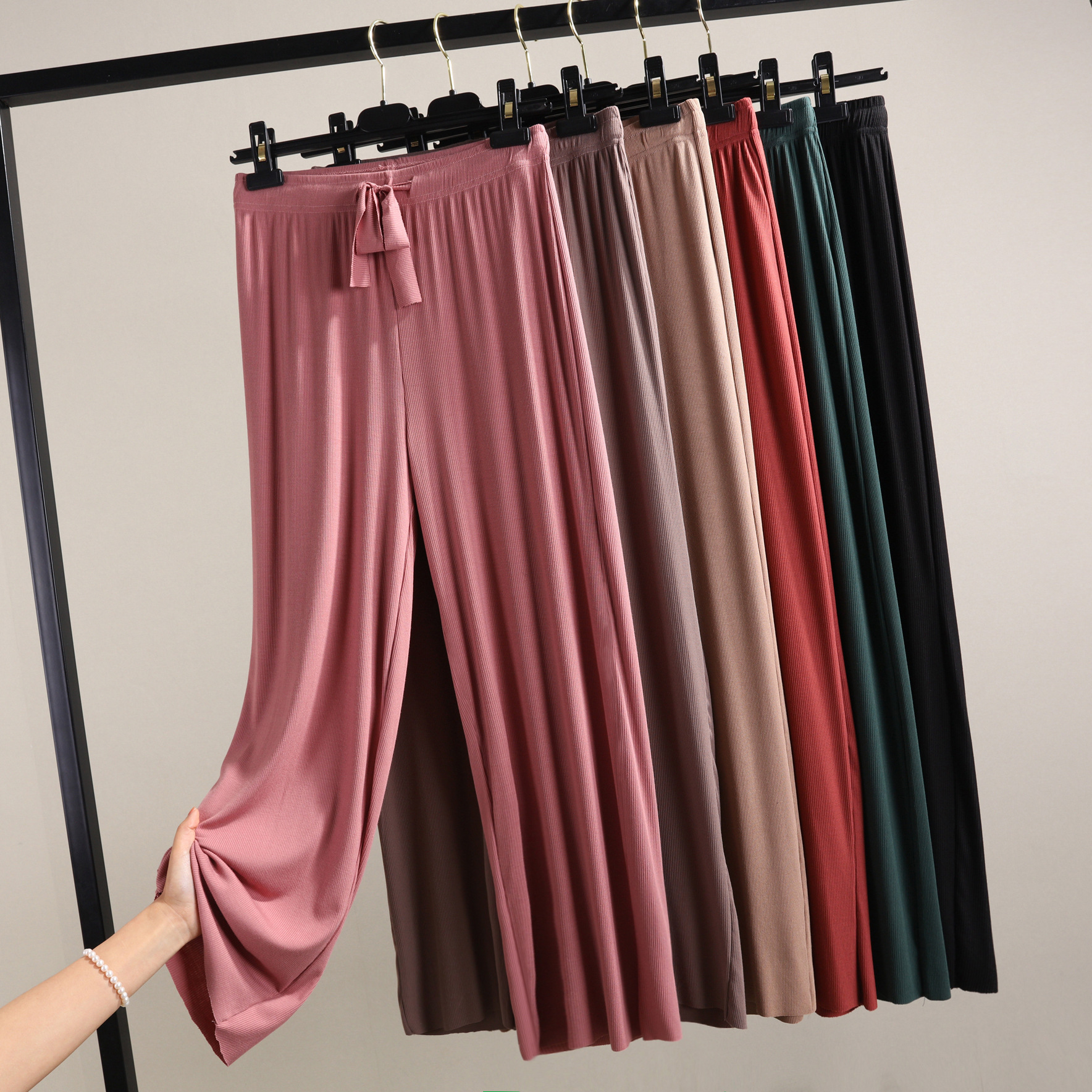 New Ribbed Cotton Wide Leg Pants Korean Version Of The Wild Nine Pants Loose Wide Leg Pants Female Summer Sense High Waist Pants