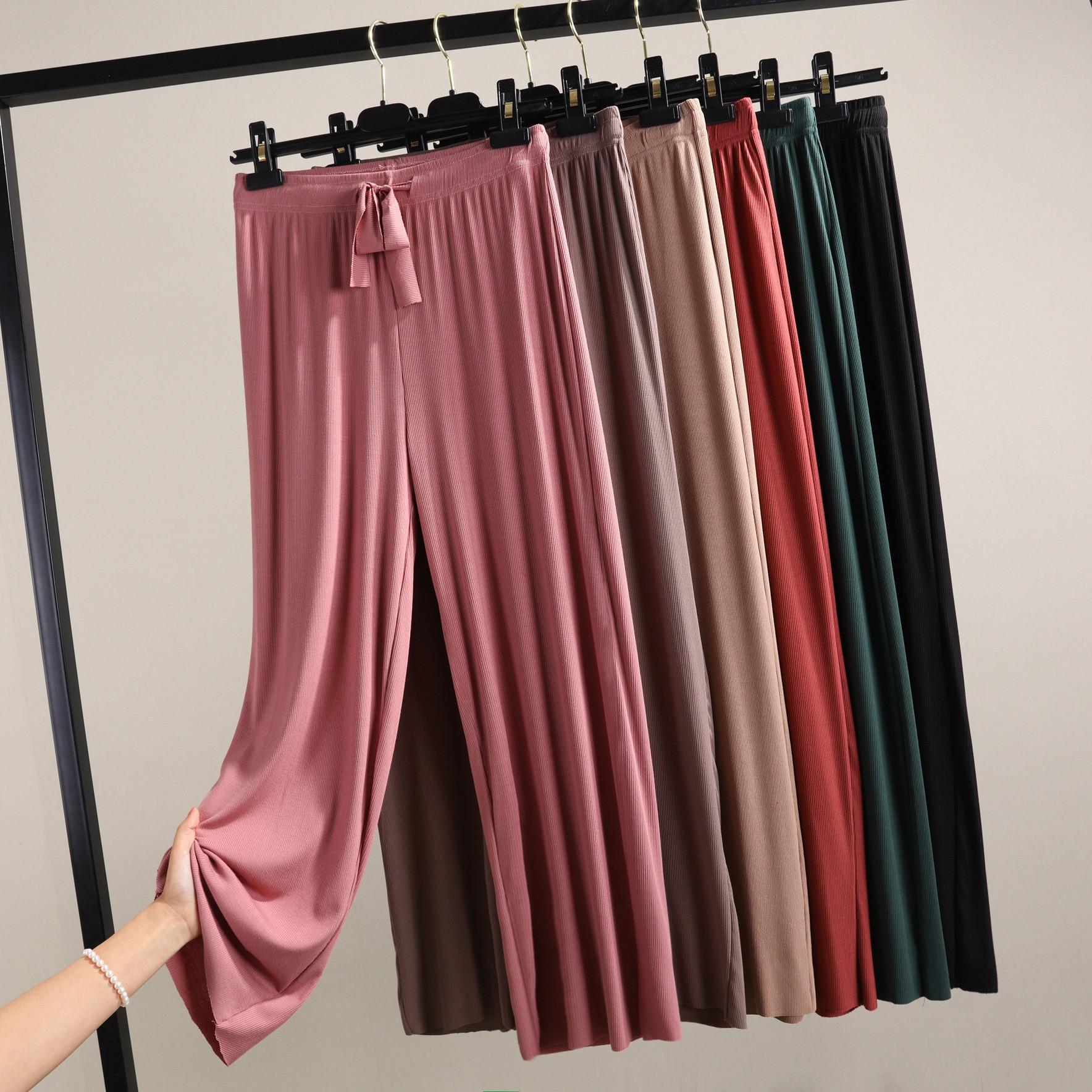 new ribbed cotton wide leg pants Korean version of the wild nine loose female summer sense high waist