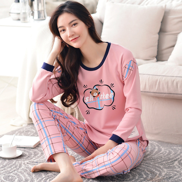 f2d40948ef Tony Candice Women s Pajamas Set Cotton Pyjamas Long Sleeve Cut Nightgown  Ladies Sleepwear Autumn Cartoon Pattern Wholesale