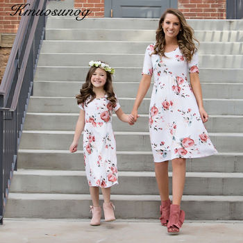 2019 New Family Match Outfits Mother Daughter Matching Dress Autumn Mommy and Me Dresses Xmas Vestidos H0437
