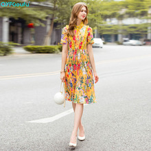 QYFCIOUFU 2018 High Quality Bow Ruffle Dress Women Short Sleeve Designer Runway Floral Print Elegant Pleated