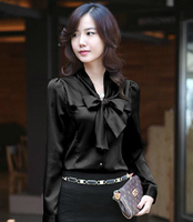 Blusas Femininas 2014 여성 패션 슬림 정장 작업복 긴 소매 퍼프 소매 Slik 셔츠 Bowknot 블라우스 한국 최고 품질