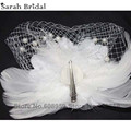 Vintage Fascinator Feather Fabric Net Hair Clip Cocktail Hat Wedding Evening Party Headdress Wedding Veils Bridal Veil 18092