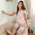 Selling! Modal female summer pajamas short sleeve cotton pant big yards thin section home service package free home delivery