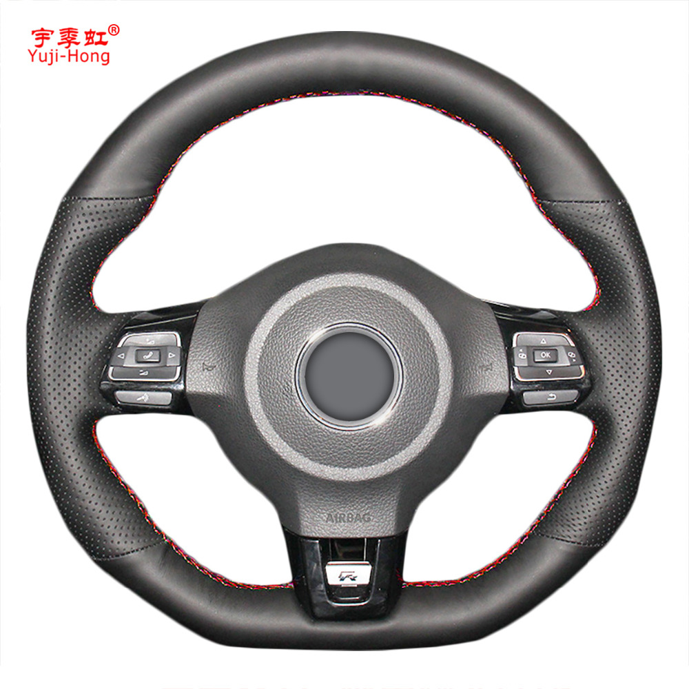 PONSNY Car Steering Wheel Covers Case For VW Golf 6 GTI MK6 VW Polo GTI Scirocco R Passat CC R-Line 2010 Artificial Leather
