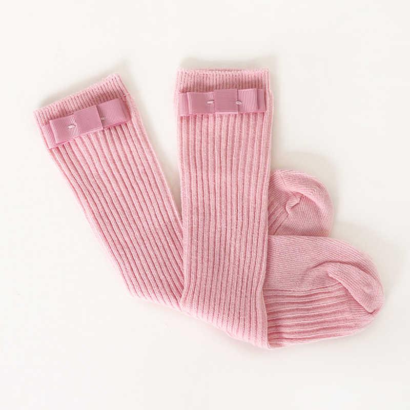 ילדים חדשים גרבי עבור בנות הברך גבוהה גרבי עם קשתות חם כותנה גרביים לילדים צבעים בוהקים יילוד תינוקות גרב תינוק socken