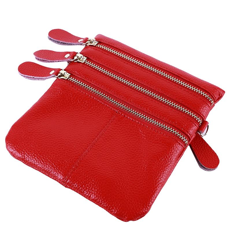 Vertical Section Small Lady Purse Crossbody Bag Leather Simple multi-bag Three Zipper Messenger Bag Shoulder Bag