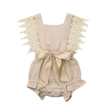 0-6M Newborn Toddler Girls Tassel Sleeveless Lace Ruffle Bodysuit Hollow Solid Color Backless with Bow Summer Clothes