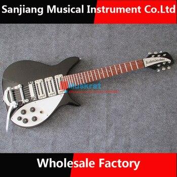 Venta al por mayor de fábrica de guitarra eléctrica color negro Rickenbarker 325 guitarra single rocker envío gratis 6 cuerdas