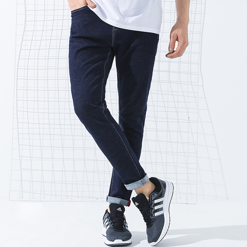 Pioneer Camp New jeans men brand clothing solid micro elastic denim pants top quality straight denim trousers male ANZ707014