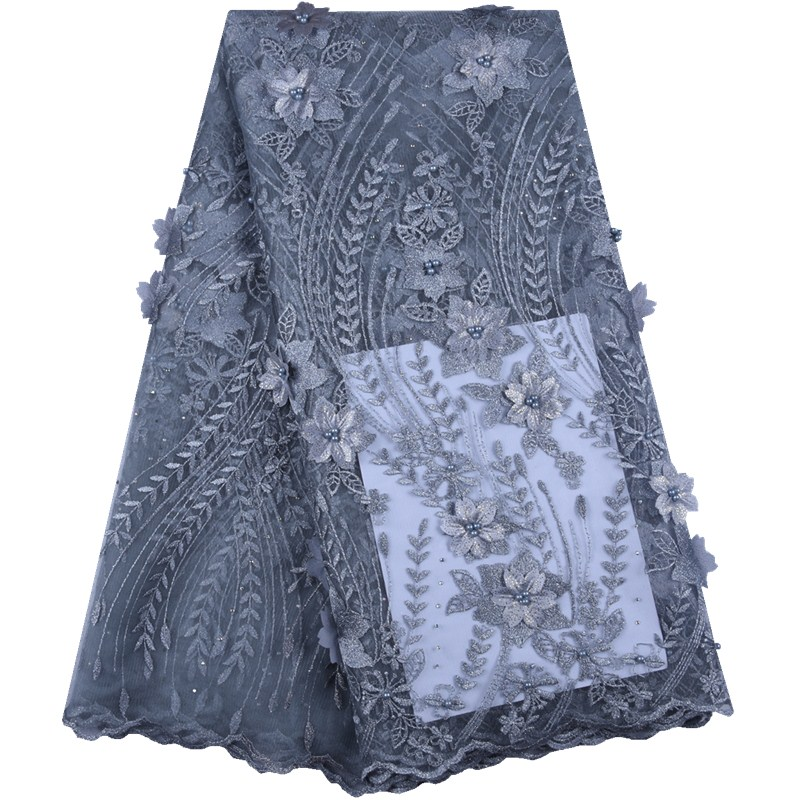 2019 New Women Dress French Tulle Lace Fabric Beads Nigerian Embroidery High Quality 3 D Flower