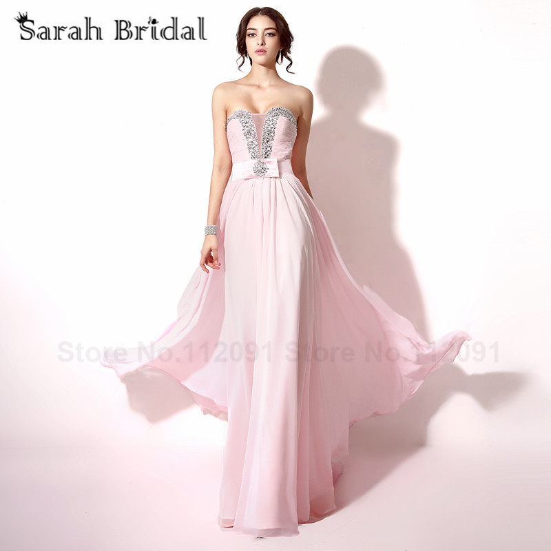 Sexy Sweetheart Prom Dresses Beading Crystal Pink Chiffon Evening Dresses  See Through Lace Up vestidos de dc5d1c49ff04