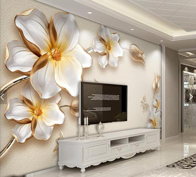 Embossed floral wall paper for living room papel mural 3d contact ...