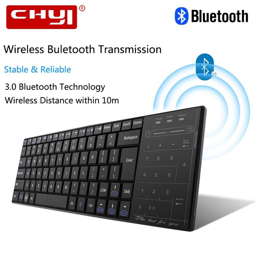 CHYI Tastiera Senza Fili di Bluetooth Ultra Sottile Ergonomico Mini Slim Touchpad Tastiera Per Finestre Mac OS Android Phone Tablet