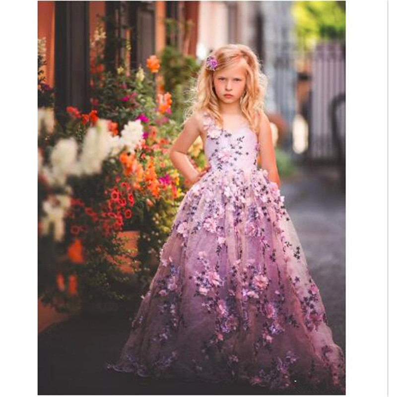 Gorgeous Fluffy   Flower     Girl     Dresses   With 3D Floral Applique V-Neck Lace-Up Backless   Girls   Birthday   Dress   Lovely Pageant Gowns