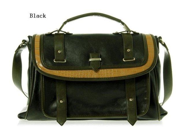 PU Leather Cool Black Vintage Handbag Punk Style Shoulder Bags Casual Messenger Purse Free Shipping SF174