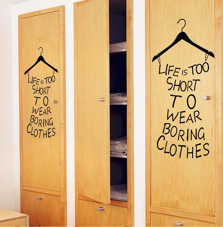 Creative Dress Wall Decals Quotes Life Is Too Short Wall Sticker ...
