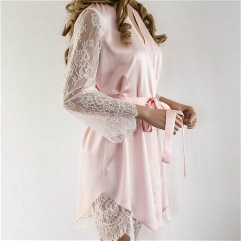 New Fashion Ladies Sexy Lingerie Women Silk Lace Robe Dress Nightdress   Nightgown   Sleepwear   Sleepshirts   Mini Dress Solid Summer