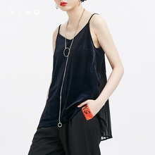 VING 2017 Autumn New Arrival Pleated Chiffon Patchwork Loose Tanks Female Short Camis Vest