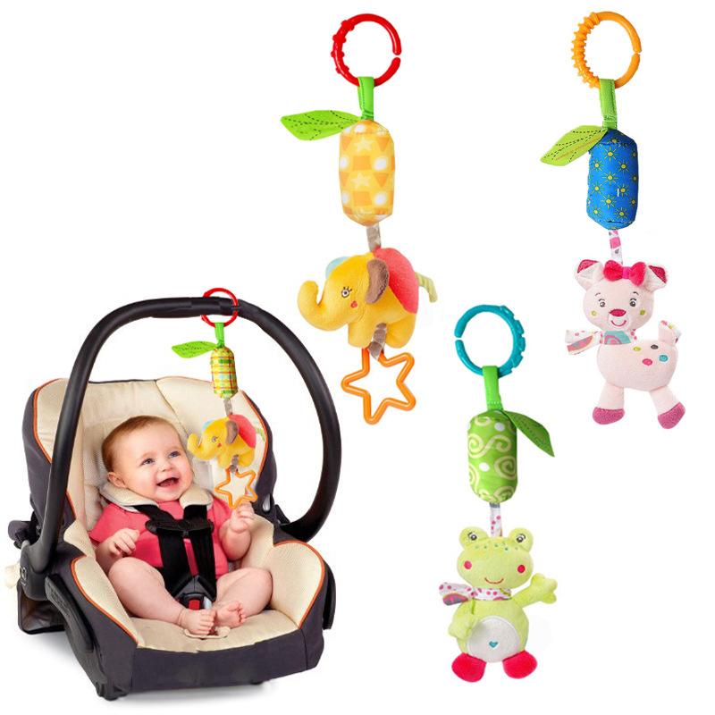 2017 New Baby Crib Stroller Cot Buggy Pram Car Seat Revolving Hanging Rattles Dangle Toy Baby Rattles Mobiles Handbell DS19