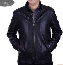 Бесплатная доставка 2016 Бренд мужской одежды досуга стоять воротник овец кожаные куртки пальто М-4XL
