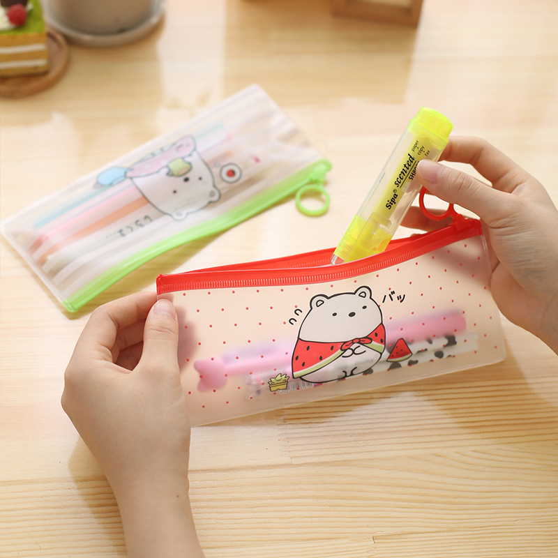Creative Transparent PVC Pencil Cases Pen Bags Cute Kawaii Animal File Holder For Kids Korean Stationery Office School Supplies