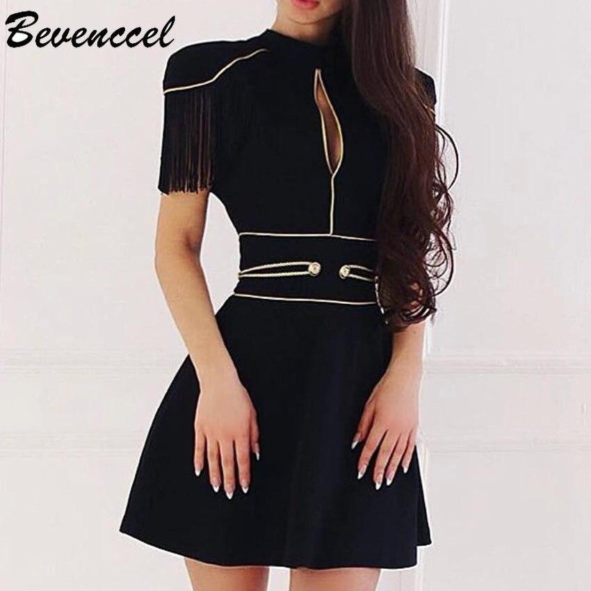 2019 nouveau Sexy noir femmes Bandage robe à manches courtes or sangles Split moulante robe d'été élégante piste robe de soirée Vestidos