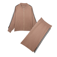 New winter knitting women zip sweater jacket & long cutout skirt casual suits girl outfit two piece clothing set vestido big siz