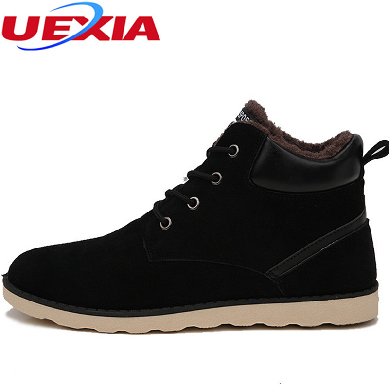 UEXIA Plus Size 38-47 Top Fashion Casual Snow Ankle Boots Men Shoes Warm Winter Fur Plush Footwear Working Lace-Up Fashion Wear chilenxas autumn warm winter leather footwear shoes men casual new fashion ankle boots breathable light hard wearing anti odor