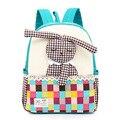 2017 novo coelho bonito crianças mochila crianças do jardim de infância bagpack mochilas de alta qualidade pequeno lace back pack meninas backpa