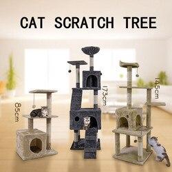 Envío doméstico muebles para mascotas gato Casa de juguete para gatos rascadores casa de madera juguete para mascotas juguete para saltar escalada marco para rascar poste