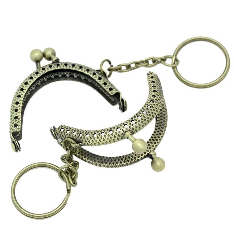 5PCs Metal Purse Bag Frame Kiss Clasp Lock Bronze Tone 5cm X4cm