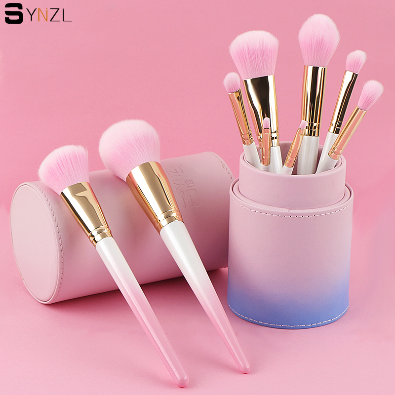 9pcs professional makeup brushes pink color powder blush foundation eyeshadow eyebrow eyeliner lip cosmetic brush tool 7pcs makeup brushes professional fashion mermaid makeup brush synthetic hair eyebrow eyeliner blush cosmetic