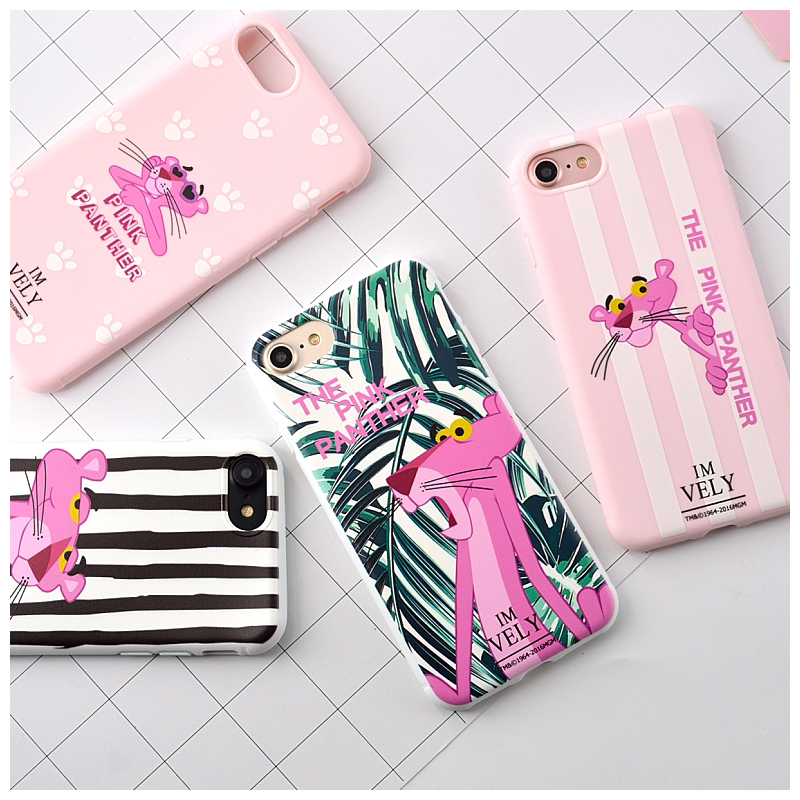 For iPhone 7 Cases Candy Color Zebra Pink Panther Soft TPU Rubber Silicon Case Cover for 7 Plus 6S 6 Plus Back Cover Lovely