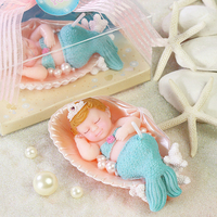 New Arrival Cute Birthday Party Cake Decorative Candle Mermaid Bee Pattern Baby Shower Smookless Candle Party