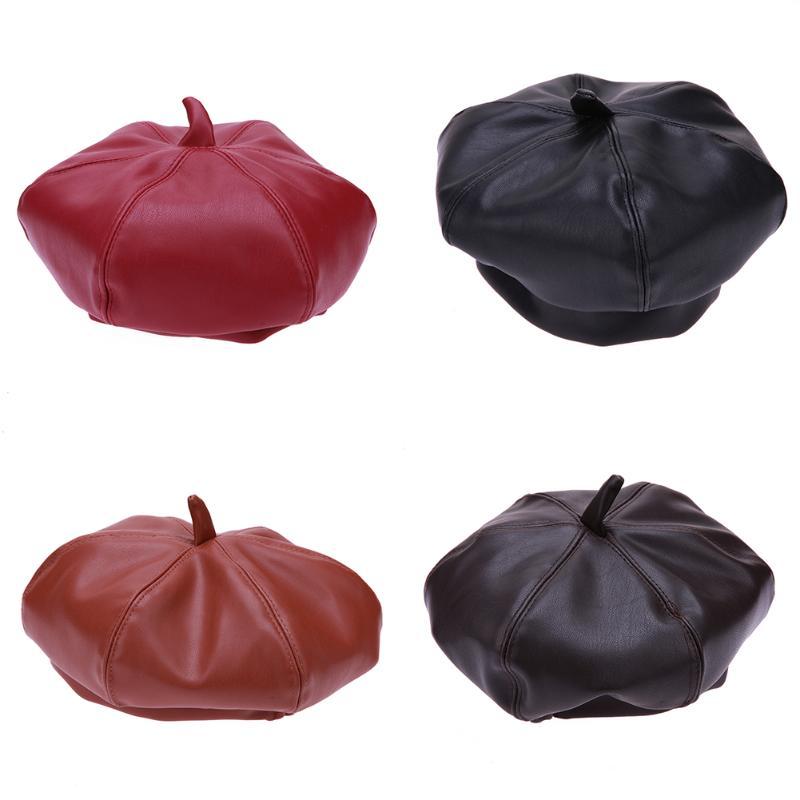Lovely Autumn Baby Leather Beret Hat Children PU Leather Pumpkin Beret Cap Cute Fashion Hexagonal Hat Kids Boy Girl Warm Beanies