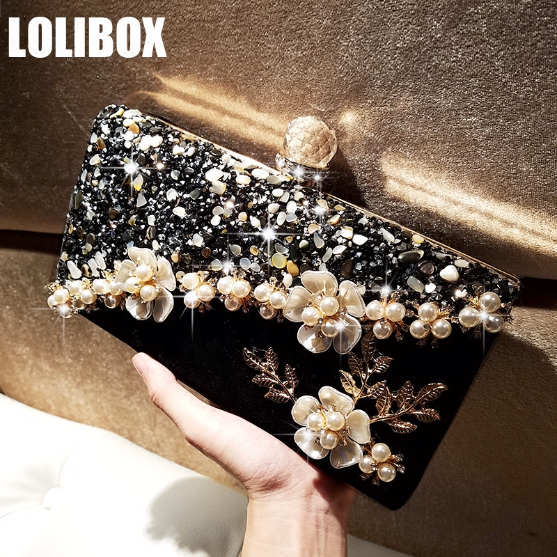Women Diamonds Evening Clutch Bags Small Stone Acrylic Pearl Flower Rhinestone Day Clutches Bridal Wedding Party hand bag