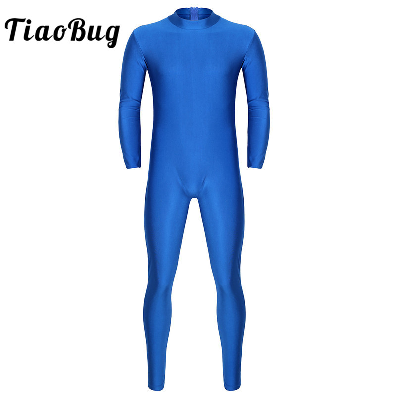 <font><b>TiaoBug</b></font> Men One-piece Solid Color Ballet Gymnastics Leotard Adult Stage Dance Costume Long Sleeve Skin-Tight Unitard Bodysuit image