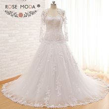 High Quality Drop Waist Venice Lace Wedding Dress with Removable Long Sleeves Lace Jacket Corset Back Ball Gown Real Photos