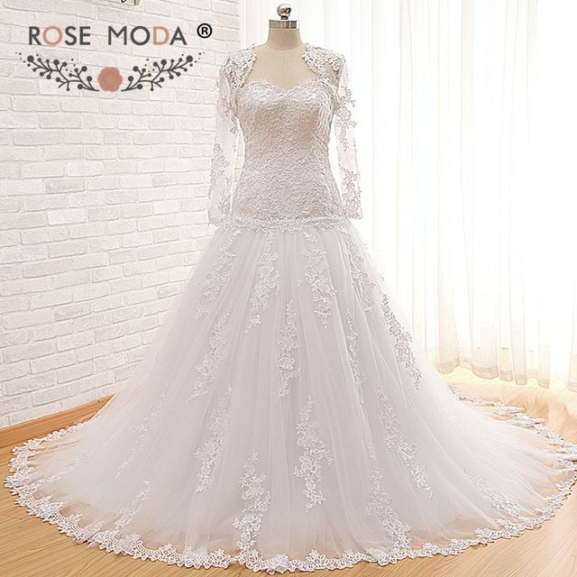High Quality Drop Waist Venice Lace Wedding Dress With Removable Long Sleeves Jacket Corset Back